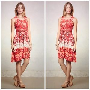 Anthropologie / Lilka Red Print Dress